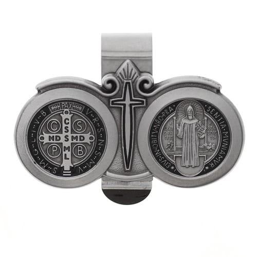 St. Benedict Pewter & Black Enamel Visor Clip
