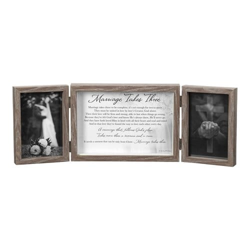 Tri-Fold Wedding Picture Frame with Poem