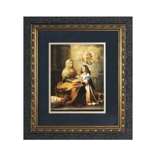 St. Anne with Mary (Matted w/ Dark Ornate Frame)
