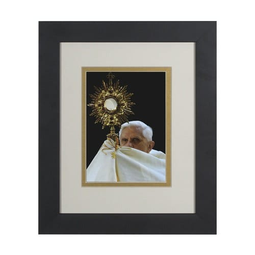 Pope Benedict w/ Monstrance (Matted w/ Black Frame) 8x10
