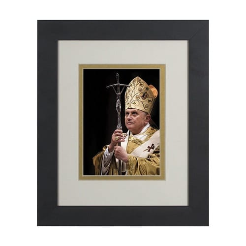 Pope Benedict w/ Paschal Staff (Matted w/ Black Frame) 8x10
