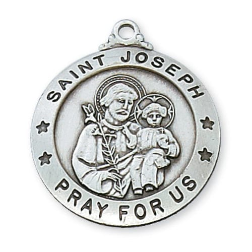 Sterling Silver St. Joseph Medal with 24 inch chain