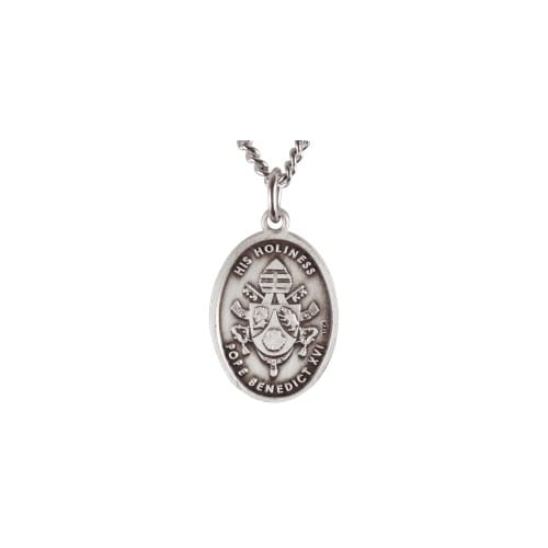 Sterling Silver Pope Benedict Medal & Chain