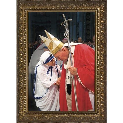 John Paul II w/ Mother Teresa w/ Gold Frame