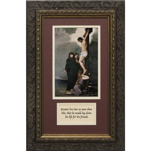 crucifixion matted with prayer in dark ornate frame 8 x 14 the