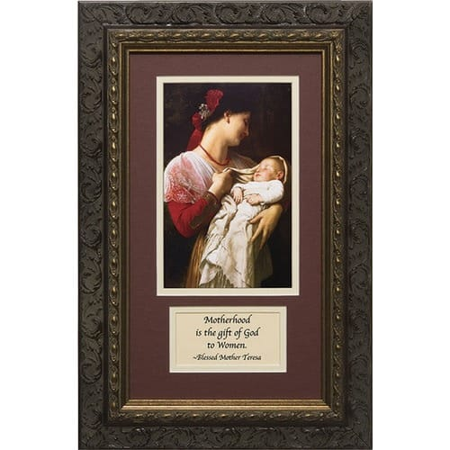 Mother and Child (Matted with Prayer in Dark Ornate Frame) 8x14