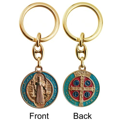 Gilt Gold and Aqua Enameled St. Benedict Medal Key Chain