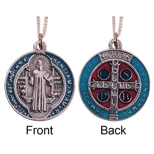 Silver and Blue Enameled St. Benedict Medal and Chain