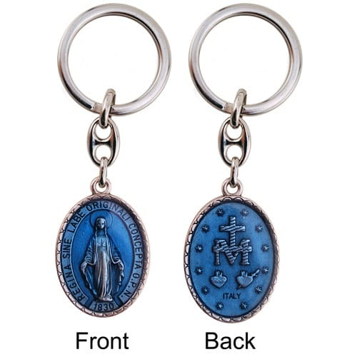 Miraculous Medal Double-Sided Keychain, Light Blue