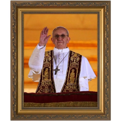 Pope Francis Giving Blessing in Gold Frame