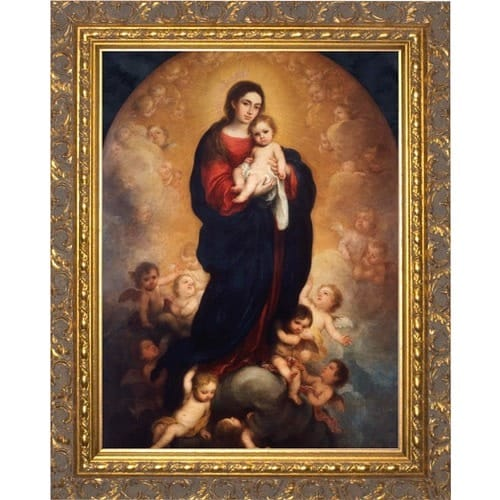Murillo Madonna and Child in Glory - Gold Framed Art