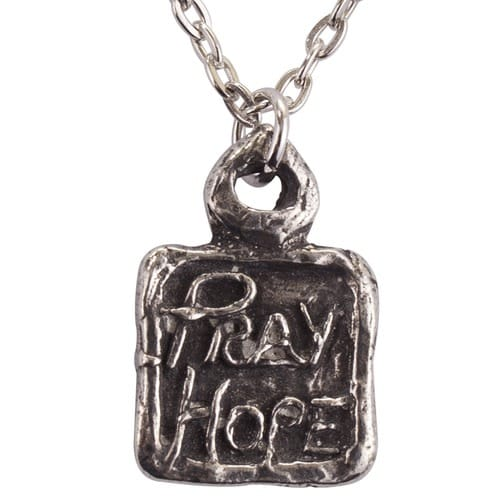 Pray, Hope, Don't Worry Medal with Chain, Handmade Pewter