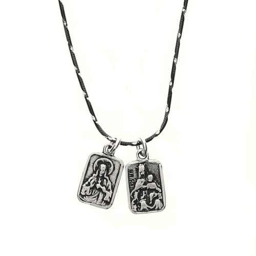 Small Scapular Medal Necklace, Sterling Silver