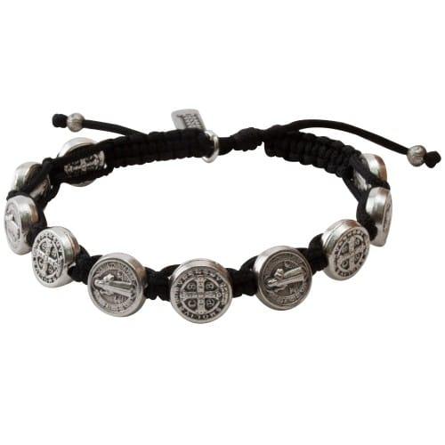 Silver Benedictine Blessing Bracelet, Black Macrame