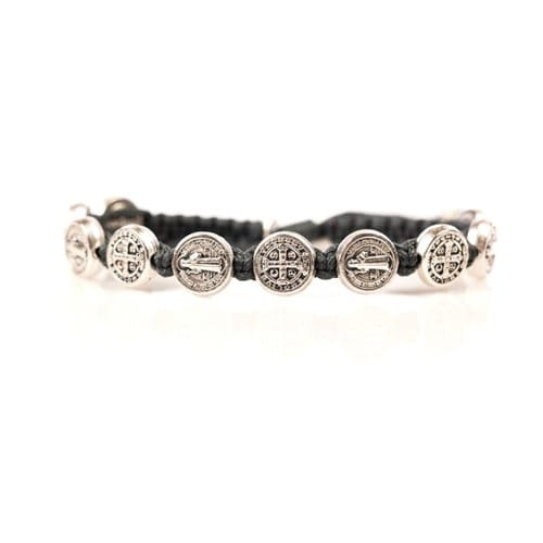Silver Benedictine Blessing Bracelet, Slate Macrame