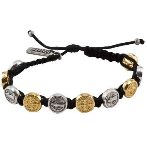 Gold & Silver Benedictine Blessing Bracelet, Black Macrame