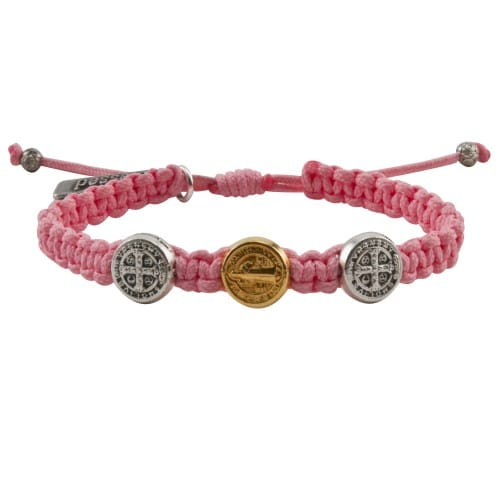 Benedictine Blessing Bracelet for Kids, Pink Macrame