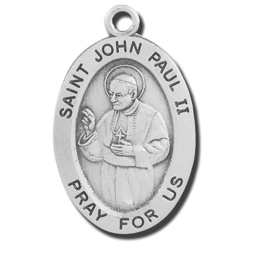 "Sterling Silver St. John Paul II Medal 20"" Chain"