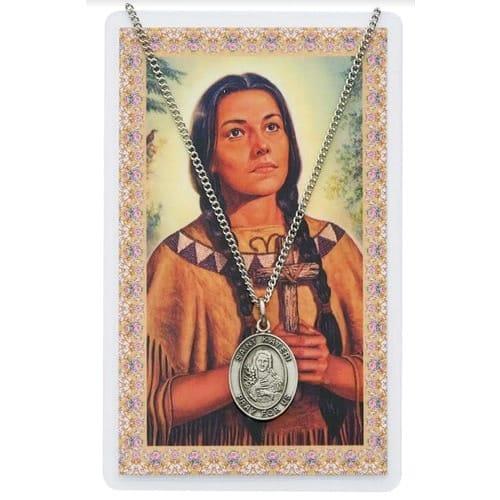 Saint Kateri Medal and Prayer Card