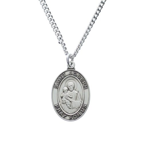 Sterling Silver St. Joseph Oval Medal