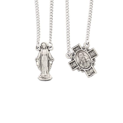 Sterling Silver Scapular with Marian Pendant
