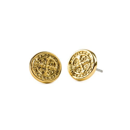 Gold Benedictine Cross Stud Earring