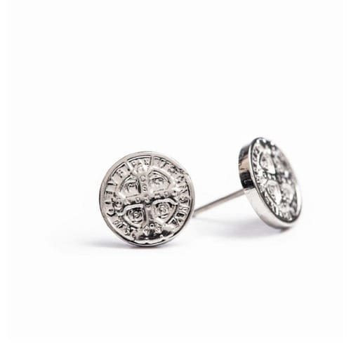 Silver Benedictine Cross Stud Earring