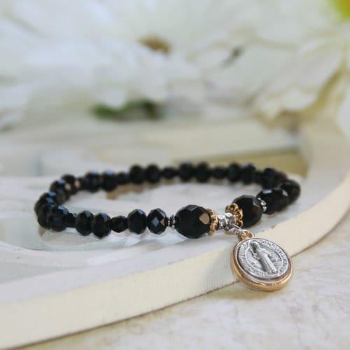 Jet Black St. Benedict Crystal Bracelet