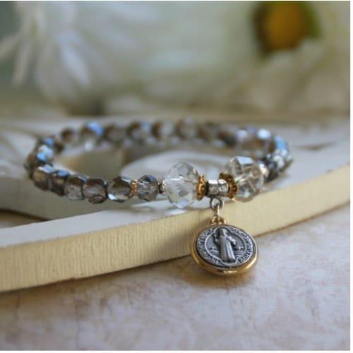 St. Benedict Platinum Stretch Bracelet