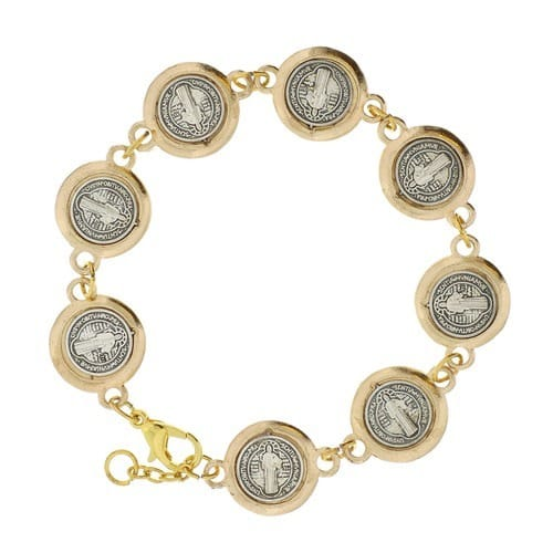 St. Benedict Silver & Gold Bracelet