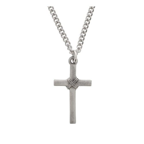 Pewter Rope Cross Necklace