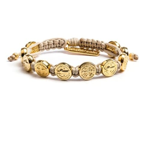 St. Benedict Tan Bracelet with Gold Medals