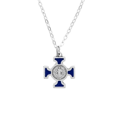 Blue St. Benedict Cross on Chain