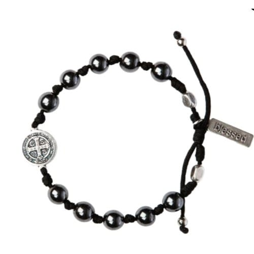 Hematite St. Benedict Blessing Bracelet For Men