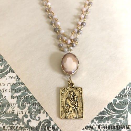 Pink Opal Scapular Medallion Necklace