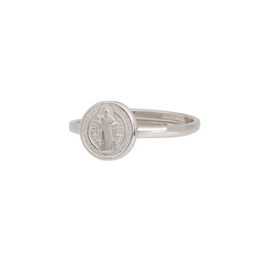 SS St. Benedict Medal Adjustable Ring