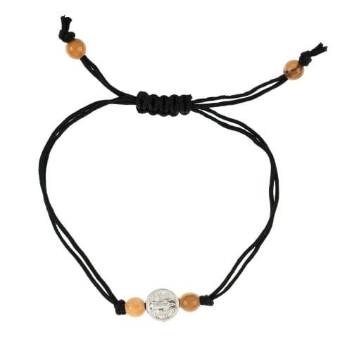 Silver St. Benedict Black Cord Bracelet