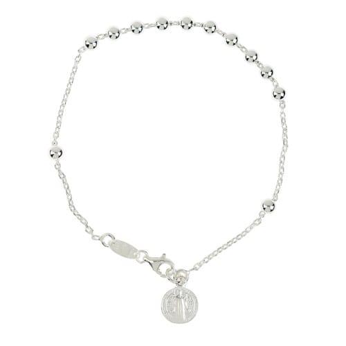 St. Benedict Sterling Silver Decade Bracelet