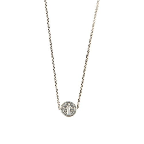 SS St. Benedict Medal Strung Necklace
