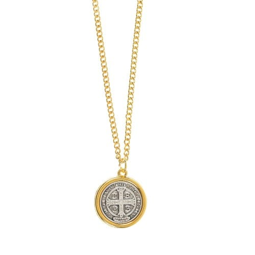 "Two Tone St. Benedict Medal on 24"" Chain"