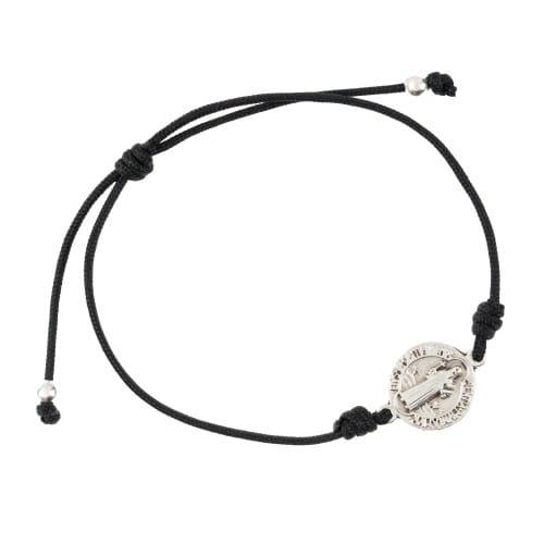Silver St. Benedict Medal Black Cord Bracelet