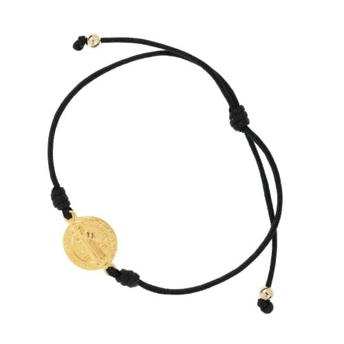 Gold Finish St. Benedict Medal Black Cord Bracelet