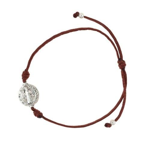 St. Benedict Medal Brown Corded Bracelet