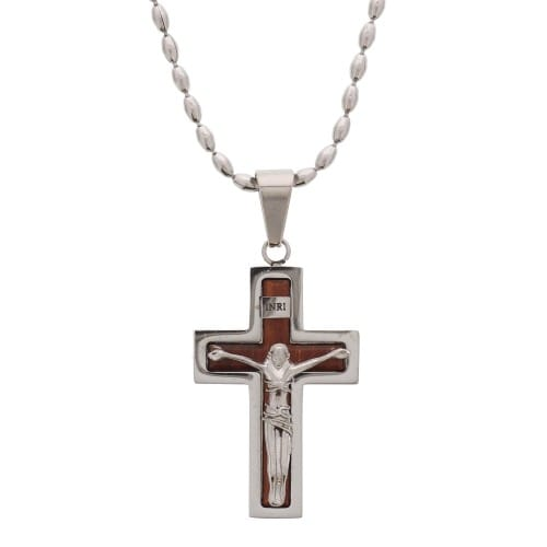 Wood & Stainless Steel Crucifix Necklace