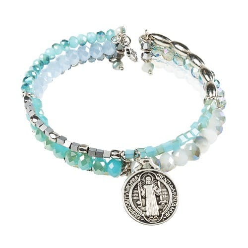 Beaded St. Benedict Three Strand Cuff Bracelet - Blue