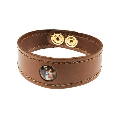 St. Michael Leather Bracelet