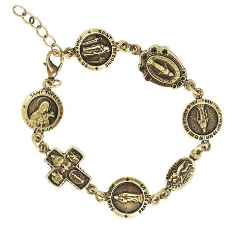 Assorted Catholic Medals Bracelet