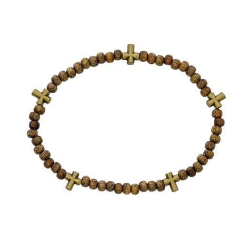 Wood Full Rosary Stretch Bracelet