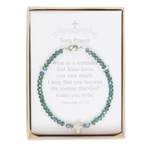 Blue-Green Crystal Teen Prayer Bracelet