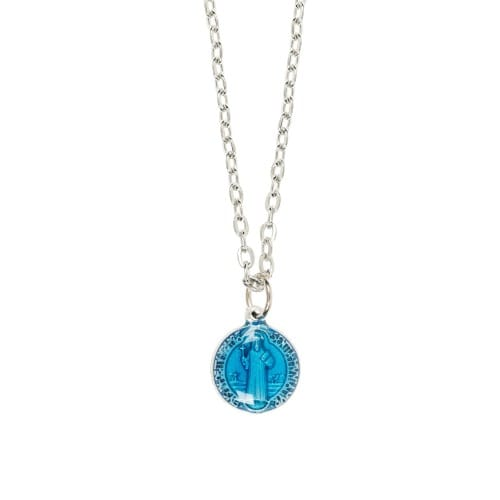 Blue Enamel St. Benedict Necklace